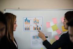 Młoda Azjatycka biznesowa kobieta zrobił prezentaci opisuje gr zdjęcia stock