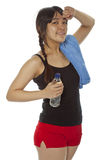 Młoda Azjatycka kobieta z pingpongowym kantem odizolowywającym na bielu Zdjęcia Stock