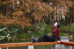 Młoda azjatykcia chińska kobieta słucha muzyka z hełmofonami siedzi pod drzewem zdjęcia royalty free
