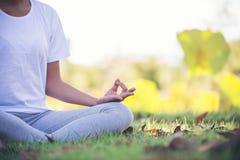 Młoda azjatykcia kobieta robi joga w parku obrazy stock