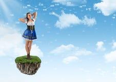 Młoda bajki kobieta na spławowej rockowej platformie w niebie ilustracji