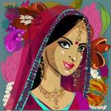 Młoda beautyful indyjska kobieta ilustracja wektor