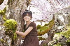 Młoda biracial dziewczyna w kwiatonośnym czereśniowym drzewie Obrazy Royalty Free
