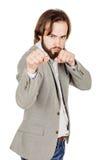 Młoda biznesmen pozycja w bokser pozyci i przygotowywająca walczyć Obrazy Stock