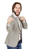 Młoda biznesmen pozycja w bokser pozyci i przygotowywająca walczyć Obraz Royalty Free