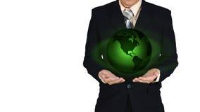 Młoda biznesmena mienia ziemi planeta w ręce Elementy to Fotografia Royalty Free