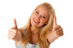 Młoda biznesowa kobieta gestykuluje su z blondynek niebieskimi oczami i włosy Zdjęcie Stock
