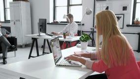 Młoda biznesowa kobieta pracuje przy podzielonym biurkiem w modnym modnisiu zaczyna up biuro używać dużych dane na laptopie 20s 4 zbiory wideo