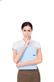 Młoda biznesowa kobieta w biznesów ubraniach ma sekret i robi ucichnięcie gestowi odosobniony Zdjęcie Royalty Free