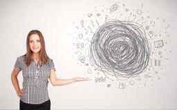 Młoda biznesowa kobieta z środka doodle skrobaniną Zdjęcia Stock