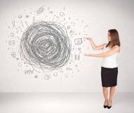 Młoda biznesowa kobieta z środka doodle skrobaniną Fotografia Royalty Free