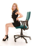 Młoda biznesowa kobieta z backache bólem pleców obrazy royalty free