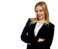 Młoda biznesowa kobieta z rękami składać Obraz Royalty Free