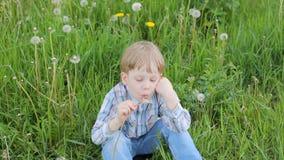 Młoda blond chłopiec w łąkowym dmuchaniu na dandelion ziarnach zbiory