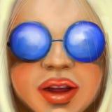 Młoda blondynki dziewczyna w round szkłach w obrazu olejnego stylu obraz royalty free