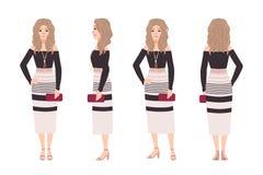 Młoda blondynki kobieta ubierająca w modnych ubraniach Ładna dziewczyna jest ubranym suknię i trzyma sprzęgłową torbę Elegancki s ilustracja wektor