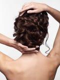 Młoda brunetki kobieta od tylnej strony z kępką galonowy włosy zdjęcie stock