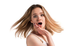 Młoda chłodno kobieta zaskakująca Fotografia Stock