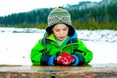Młoda chłopiec bawić się w śniegu zdjęcia royalty free