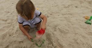 Młoda chłopiec bawić się w piasku zdjęcie wideo