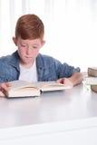Młoda chłopiec czyta bardzo skoncentrowanego w książce Zdjęcie Royalty Free