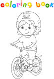 Młoda chłopiec jedzie bicykl w hełmie ilustracja wektor