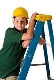 Młoda chłopiec - przyszłościowy pracownik budowlany Obrazy Stock