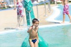 Młoda chłopiec w aqua parku Obraz Royalty Free