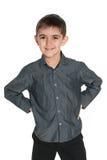 Młoda chłopiec w szarej koszula Obrazy Stock