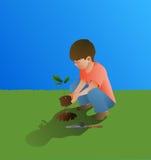 Młoda chłopiec Zasadza Dębowego drzewa Obrazy Royalty Free