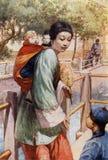 młoda chińczyk matka z jej dwa dziećmi royalty ilustracja