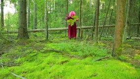 Młoda czarownica w lesie tanczy z gałąź paproć i personel zbiory