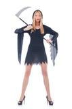 Młoda czarownica z kosą Obrazy Royalty Free