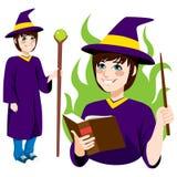 Młoda czarownik pozycja ilustracja wektor