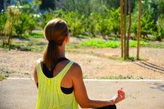 Młoda dama robi ćwiczeniu w parku Fotografia Stock