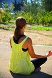 Młoda dama robi ćwiczeniu w parku Zdjęcia Stock