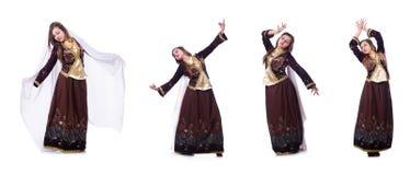 Młoda dama tanczy tradycyjnego azerijskiego tana fotografia stock