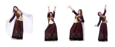 Młoda dama tanczy tradycyjnego azerijskiego tana zdjęcia stock