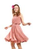 Młoda dama w menchii sukni Zdjęcia Royalty Free