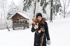 Młoda dama z małym psem jest na śnieżnym polu Czuły uczucie z psem Zdjęcia Royalty Free