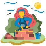 Młoda dziewczyna buduje dom cegła Ilustracja w mieszkanie stylu royalty ilustracja