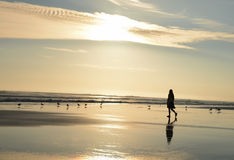 Młoda dziewczyna cieszy się czas na pięknej plaży Zdjęcie Stock