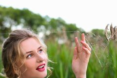 Młoda dziewczyna dotyka pajęczynę w polu Fotografia Stock