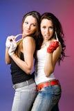 Młoda dziewczyna dwa przyjaciela fotografia royalty free