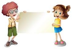 Młoda dziewczyna i młoda chłopiec trzyma pustego signboard ilustracja wektor