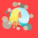 Młoda dziewczyna na tle denna strona w pięknej czerwonej dekoracyjnej ramie. Obraz Stock