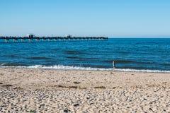 Młoda Dziewczyna na widok na ocean plaży w Norfolk, Virginia Obraz Stock