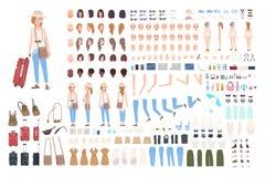 Młoda dziewczyna podróżnika charakteru konstruktor Różna kobieta w urlopowym tworzenie secie Postury, fryzura, twarz, iść na piec royalty ilustracja