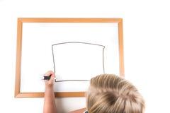 Młoda dziewczyna rysunek na suchym wymazuje deskę Obraz Stock