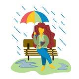 Młoda dziewczyna siedzi na ławce w deszczu z parasolem Ilustracja w mieszkanie stylu ilustracji